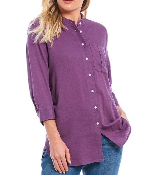 ウエストバウンド レディース シャツ トップス 3/4 Sleeve One Pocket Front Linen Blend Tunic Grape Compote