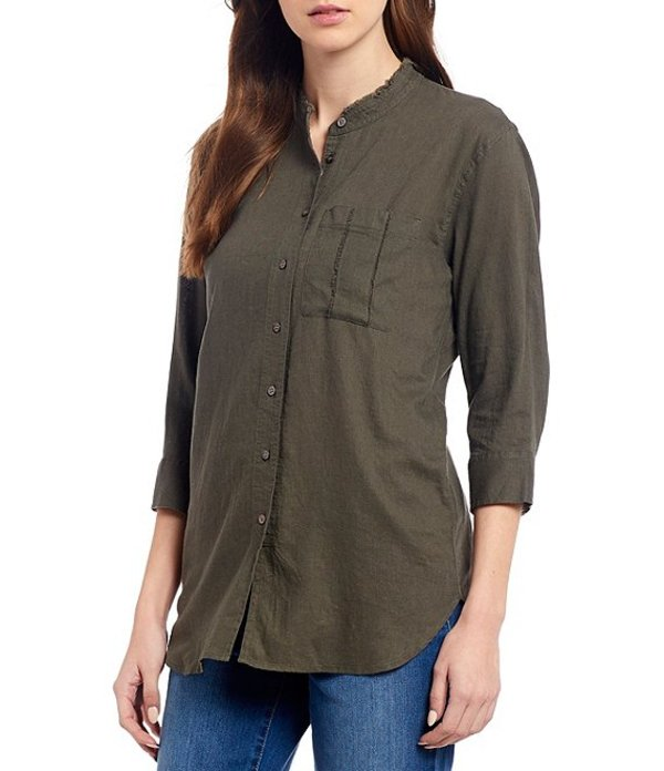 ウエストバウンド レディース シャツ トップス 3/4 Sleeve One Pocket Front Linen Blend Tunic Olive