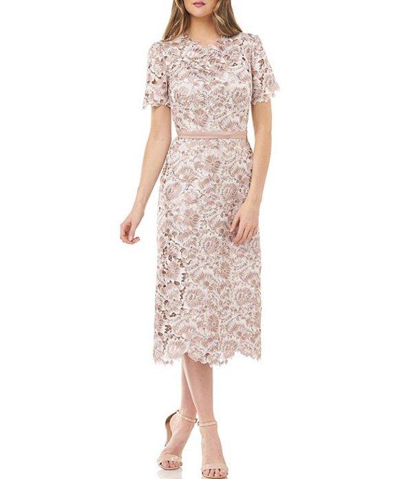 ジェイエスコレクションズ レディース ワンピース トップス Floral Lace Short Sleeve Sheath Midi Dress Blush/Ivory