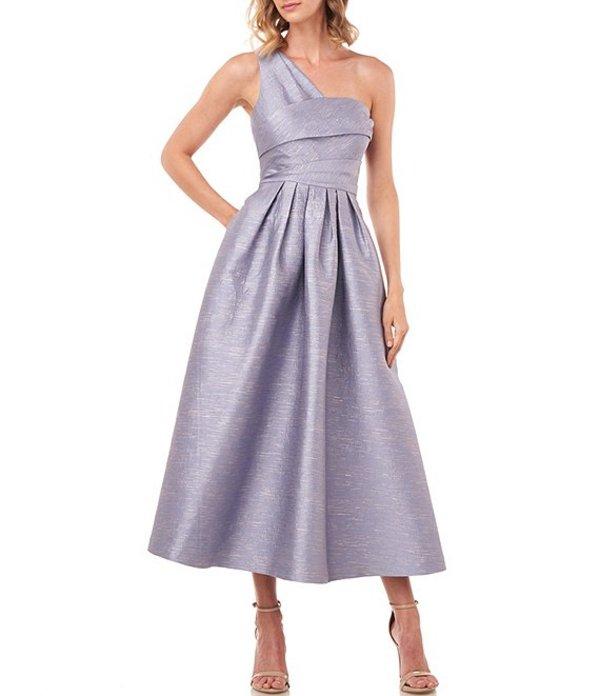 ケイ アンジャー レディース ワンピース トップス Victoire One Shoulder Fit & Flare Pleated Jacquard Dress Smoke Blue