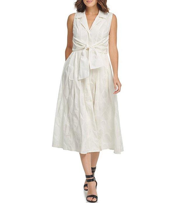 ダナ キャラン ニューヨーク レディース ワンピース トップス Notch Collar Textured Tie Waist Cotton Poplin Shirt Dress Cream