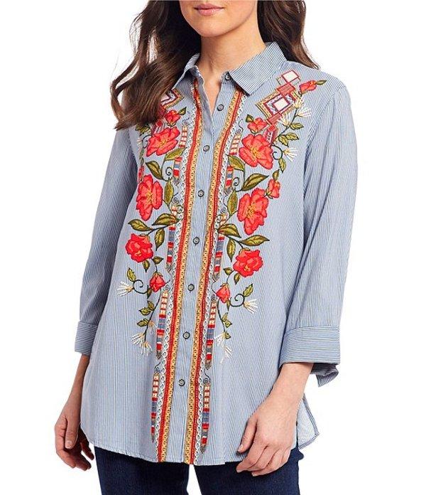 マルチプルズ レディース シャツ トップス Stripe Floral Embroidery 3/4 Sleeve Button Down Shirt Multi