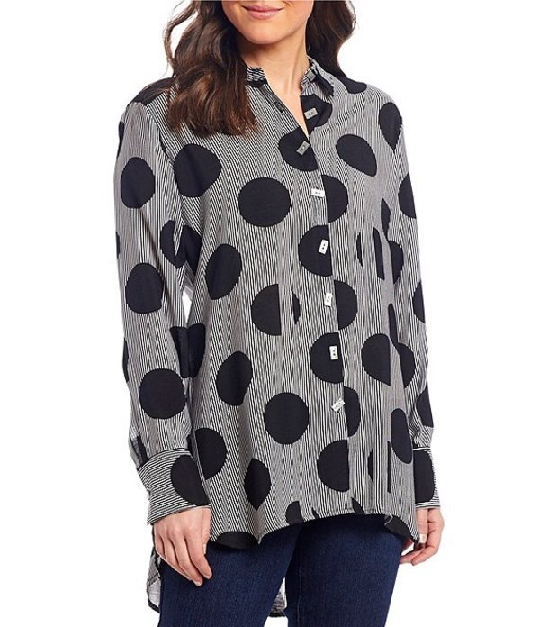マルチプルズ レディース シャツ トップス Striped Oversize Dot Long Sleeve Button Down Hi-Low Tunic Black Print