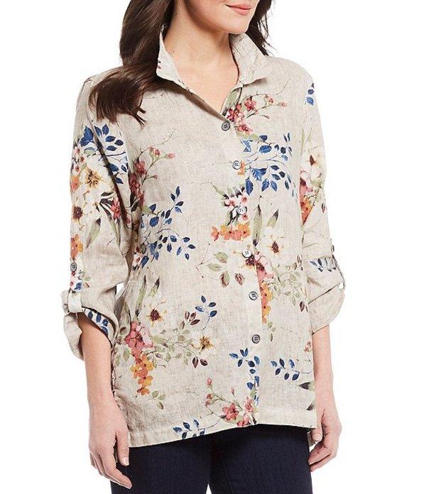 ジョン マーク レディース シャツ トップス Printed Floral Linen Roll-Tab Sleeve Tunic Multi Floral