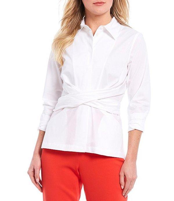 ダナキャラン レディース シャツ トップス New York Tie Waist Stretch Cotton Poplin Shirt White