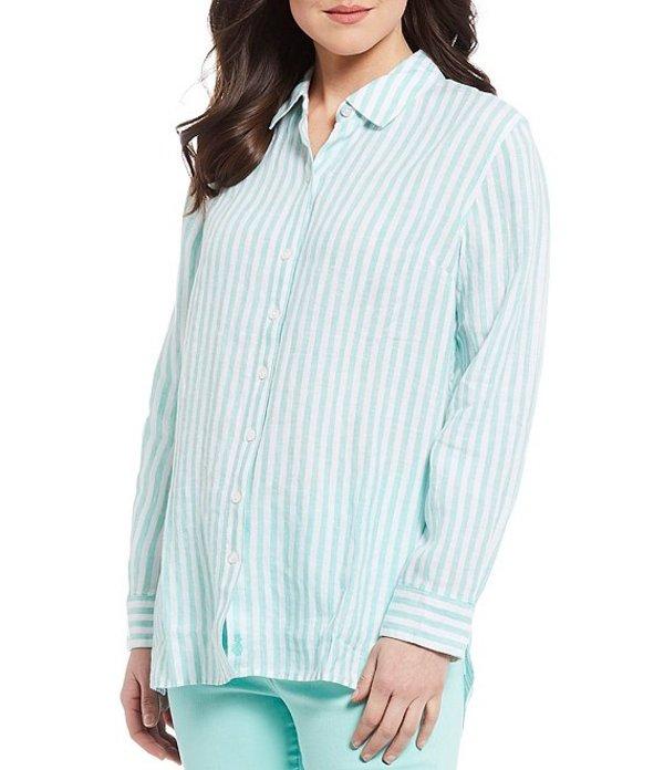 トッミーバハマ レディース シャツ トップス Cabana Stripe Long Sleeve Linen Shirt Dusty Teal