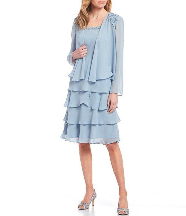 イグナイト レディース ワンピース トップス Beaded Neck Tiered Chiffon Jacket Dress Misty Blue