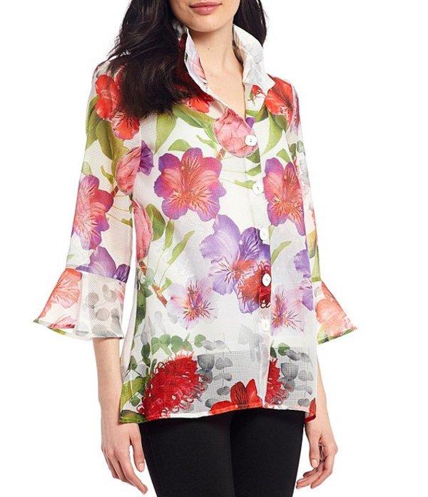 アリ マイルス レディース シャツ トップス 3/4 Ruffle Sleeve Floral Print Button Back and Front Tunic Floral Multi