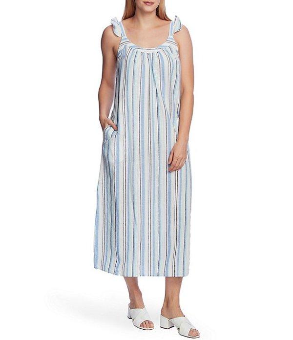 ヴィンスカムート レディース ワンピース トップス Sleeveless Ruffle Strap Striped Linen Cotton Blend Midi Dress Aqua Ice
