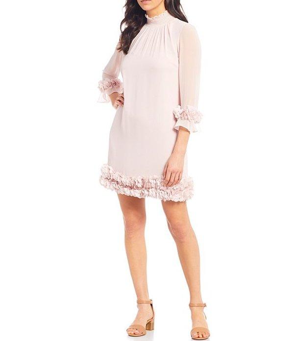 アレックスマリー レディース ワンピース トップス Amelia Mock Smock Neck Floral Petal Detail Illusion Sleeve Chiffon Dress Blush
