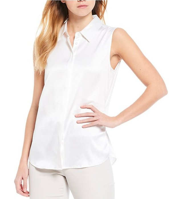 アントニオ メラーニ レディース シャツ トップス Oliver Stretch Silk Charmeuse Button Front Sleeveless Blouse White