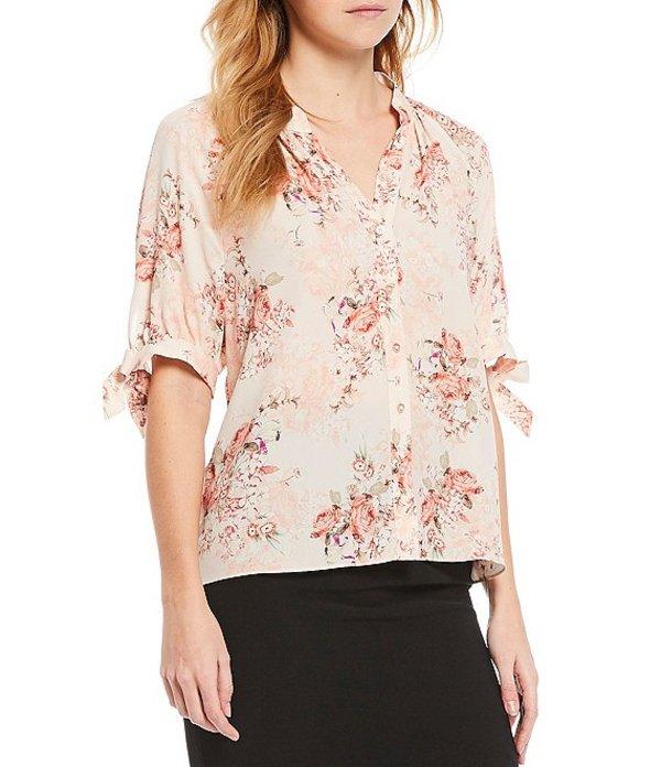 アントニオ メラーニ レディース シャツ トップス Vivian Floral Print Crepe de Chine Elbow Tie Sleeve Button Front Blouse Pink/Sand/Ivory