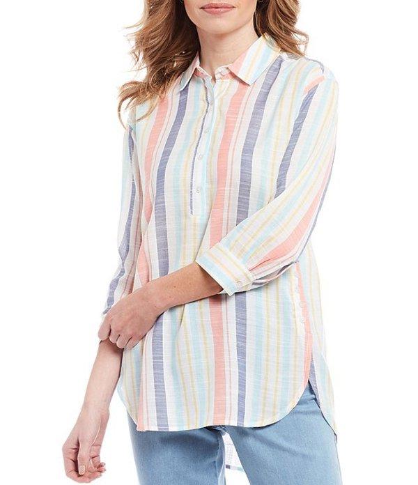イントロ レディース シャツ トップス Cotton Slub 3/4 Sleeve Button Striped Shirttail Hem Top Light Flamingo