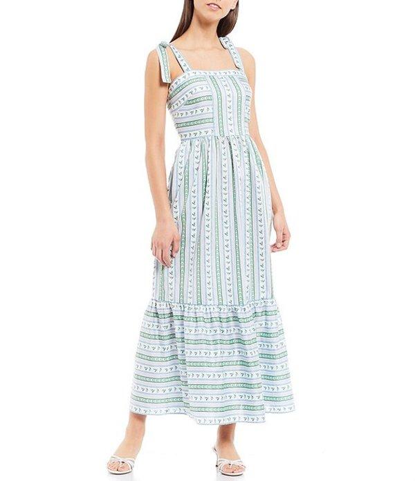 ギャルミーツグラム レディース ワンピース トップス Geraldine Shoulder Tie Foulard Printed Square Neck Cotton Maxi Dress Purple/Blue