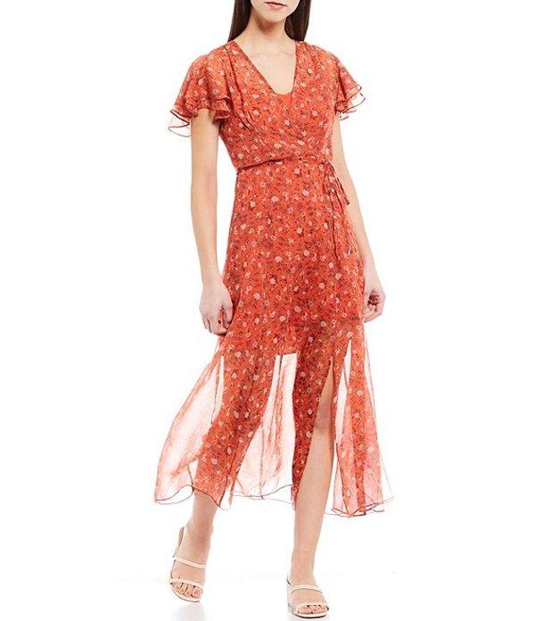 フレンチコネクション レディース ワンピース トップス Esi Crepe Flutter Sleeve Floral Print Faux Wrap Midi Dress Pumpkin Multi