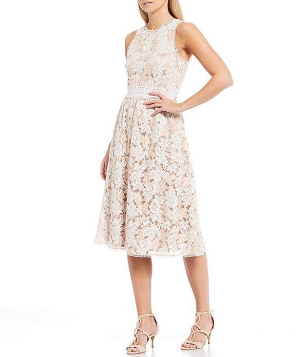 ヴィンスカムート レディース ワンピース トップス Sleeveless Lace Circle Trim Cotton Blend Midi Dress Taupe