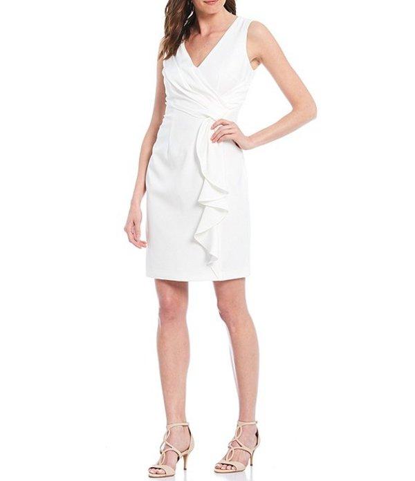 ヴィンスカムート レディース ワンピース トップス Sleeveless Wrap Front Ruffled Crepe Sheath Dress Ivory