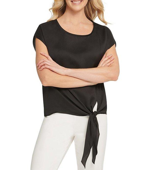 ダナ キャラン ニューヨーク レディース シャツ トップス Jeans Satin Twill Cap Sleeve Side Tie Blouse Black