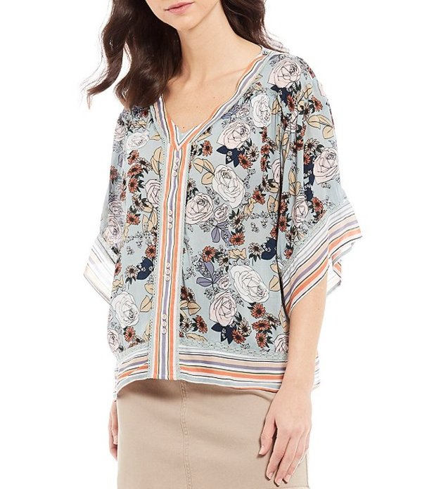 デモクラシー レディース シャツ トップス Floral Border Print V-Neck Wide Sleeve Top Desert Sage