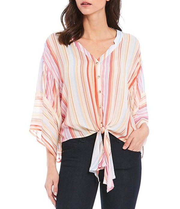 デモクラシー レディース シャツ トップス Stripe Print 3/4 Kimono Sleeve Button Tie Front Top Candy Coral Multi