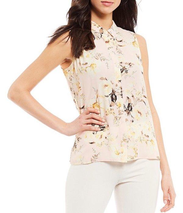 カール ラガーフェルド レディース シャツ トップス Georgette Floral Printed Sleeveless Collared Blouse Blush Multi