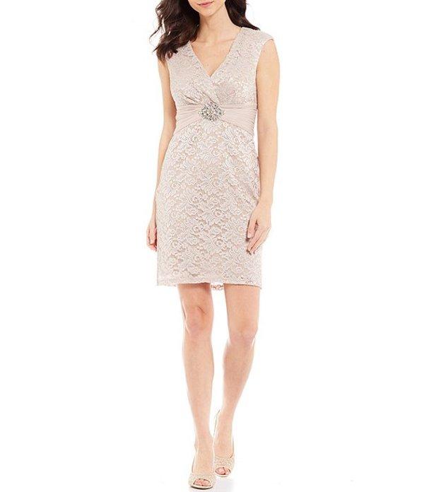 ジェシカハワード レディース ワンピース トップス Ruched Waist Glitter Lace V-Neck Sleeveless Sheath Dress Taupe