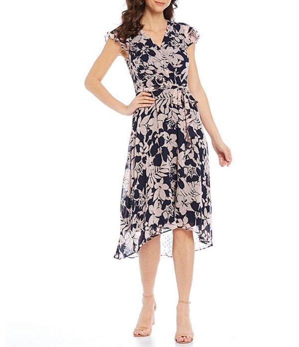 ジェシカハワード レディース ワンピース トップス Faux Wrap Floral Print Tie Waist Chiffon Midi Dress Navy/Pansy