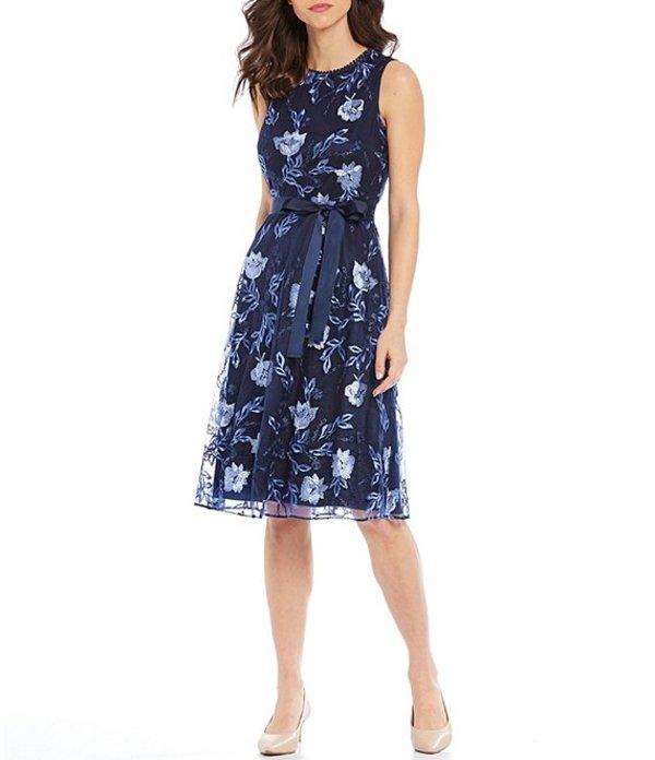 ジェシカハワード レディース ワンピース トップス Floral Embroidered Mesh Lace Trim Ribbon Tie Waist Midi Dress Navy/Blue