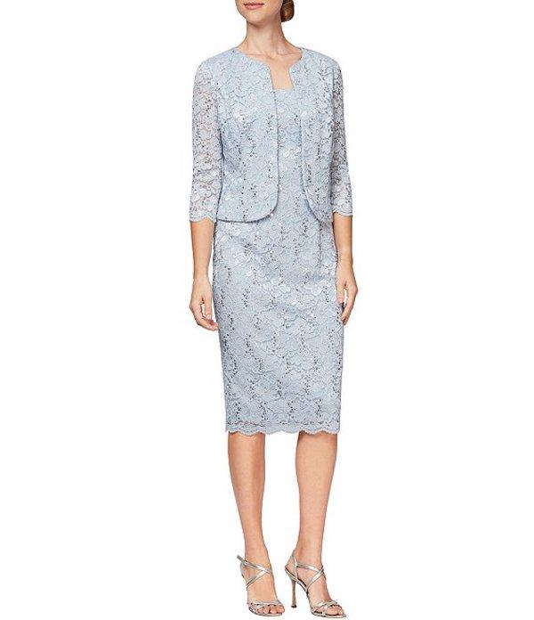 アレックスイブニングス レディース ワンピース トップス Sequin Lace Scalloped 2 Piece Jacket Dress Hydrangea