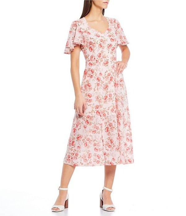 ビービーダコタ レディース ワンピース トップス Endless Love Rose Print Flutter Sleeve Sweetheart Neck Midi Dress Ash Rose