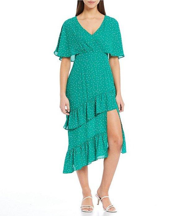 ビービーダコタ レディース ワンピース トップス Long Way Polka Dot Short Sleeve Ruffle Asymmetric Hem Midi Dress Pepper Green
