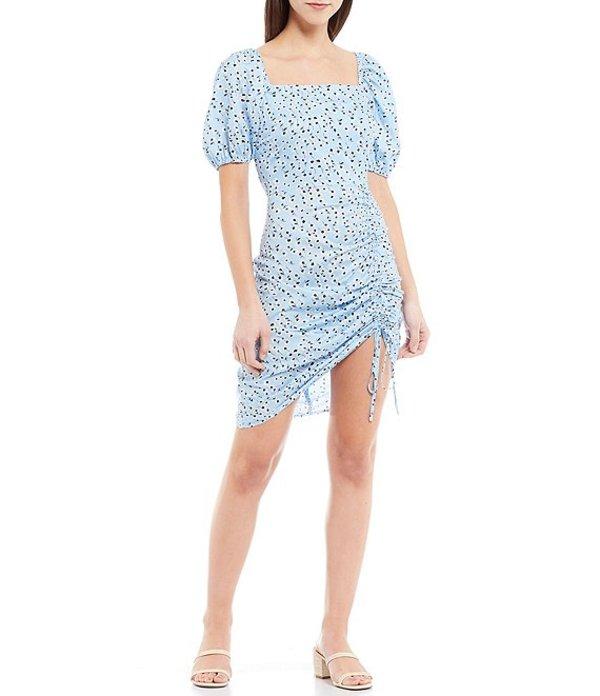 ルーシーパリ レディース ワンピース トップス Winona Floral Square Neck Puff Sleeve Side Ruched Dress Blue Floral