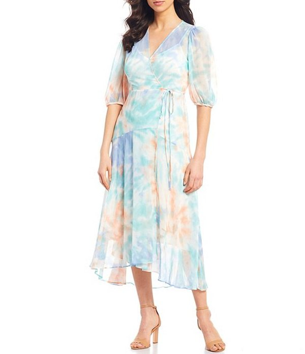 カルバンクライン レディース ワンピース トップス Tie Dye Chiffon Elbow Puff Sleeve V-Neck Wrap Midi Dress Seaspray Multi