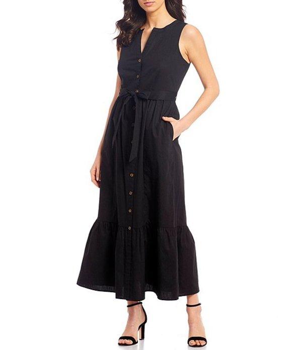 カルバンクライン レディース ワンピース トップス Button Front Sleeveless Flounce Tie Waist Hem Cotton Maxi Dress Black