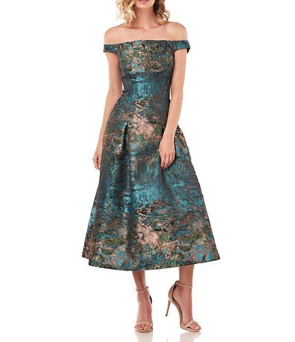 ケイ アンジャー レディース ワンピース トップス Carina Abstract Jacquard Off-The-Shoulder Cap Sleeve Fit & Flare Midi Dress Teal Multi