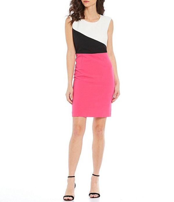 カスパール レディース ワンピース トップス Sleeveless Crepe Combo Colorblock Jewel Neck Sleeveless Sheath Dress Pink Perfection Multi
