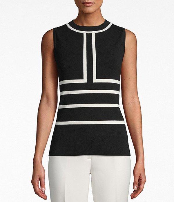 アンクライン レディース Tシャツ トップス Sleeveless Colorblock Knit Top Anne Black/Anne White