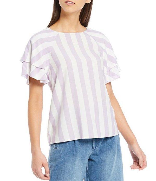 ダニエル クレミュ レディース シャツ トップス Madisyn Stripe Short Ruffle Sleeve Blouse Lavender/Ivory