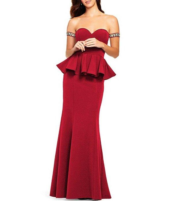 アイダンマットックス レディース ワンピース トップス Sweetheart Neck Beaded Arm Cuff Peplum Waist Gown Red
