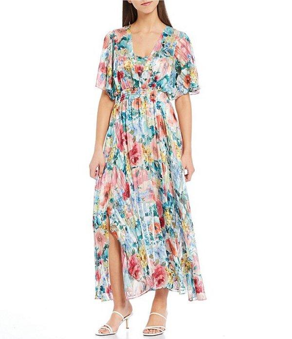 ケンジー レディース ワンピース トップス Flutter Sleeve V-Neck Floral Print Smocked Waist Front Slit Chiffon Midi Dress Multi
