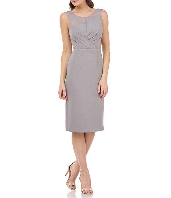 ジェイエスコレクションズ レディース ワンピース トップス V-Back Sleeveless Crepe Sheath Dress Silver