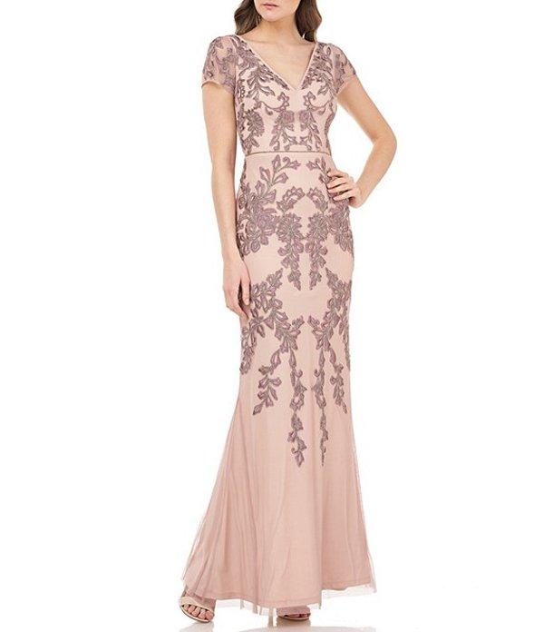 ジェイエスコレクションズ レディース ワンピース トップス V-Neck Short Sleeve Embroidered Mesh Mermaid Gown Blush