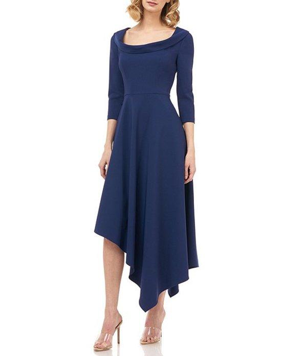 ケイ アンジャー レディース ワンピース トップス Arianna Asymmetrical Hem 3/4 Sleeve Stretch Crepe Dress Deep Navy