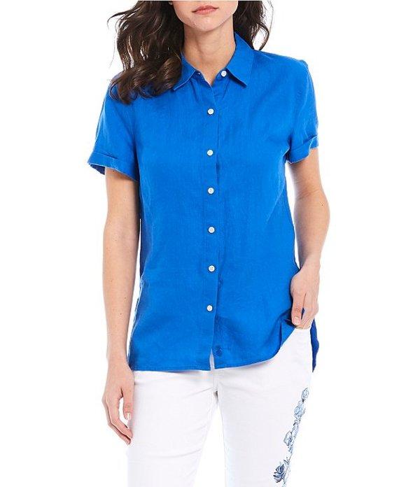 トッミーバハマ レディース シャツ トップス Costalina Linen Button Front Short Sleeve Shirt Turkish Sea