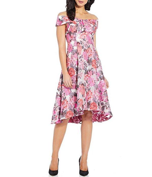 アドリアナ パペル レディース ワンピース トップス Off-The-Shoulder Floral Print Jacquard Hi-Low A-Line Dress Pink Multi