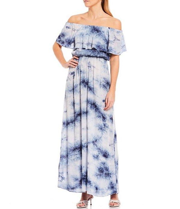 シュガーリップス レディース ワンピース トップス Off-The-Shoulder Tie Dye Maxi Dress Blue Multi