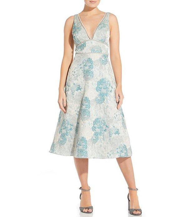 アイダンマットックス レディース ワンピース トップス Double V-Neck Floral Jacquard Midi Dress Mint