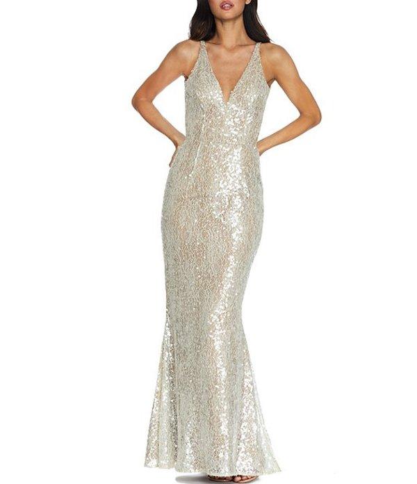 ドレスザポプレーション レディース ワンピース トップス Sharon Sequin Lace Sleeveless Mermaid Gown Off WhitenOPwX80k