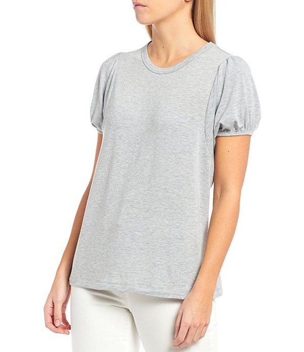 エーラブズエー レディース Tシャツ トップス Knit Jersey Puff Sleeve Tee Heather Grey