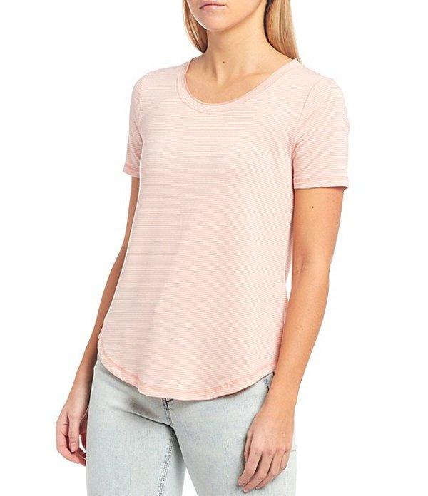 エーラブズエー レディース Tシャツ トップス Knit Jersey Stripe Tee Peach/White
